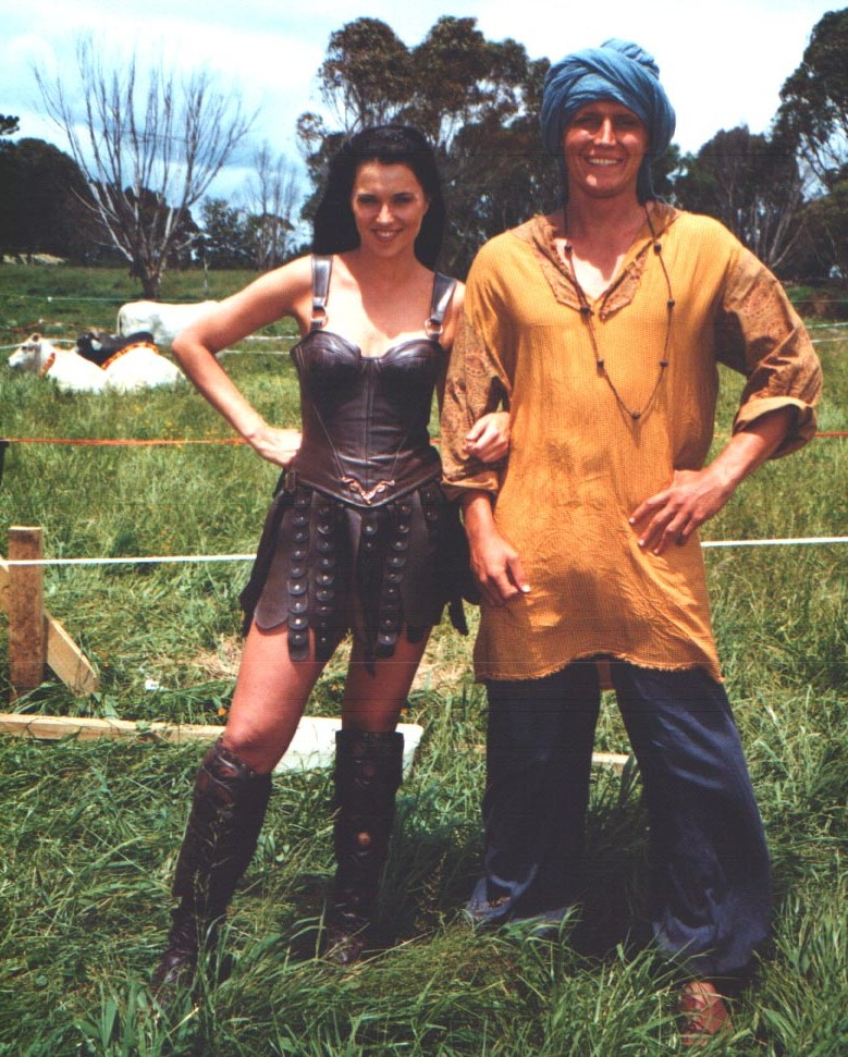 On set with Lucy Lawless