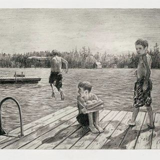 """Summers In Maine"" etching. Missing long days at the lake! Available for purchase on website--link in profile!"
