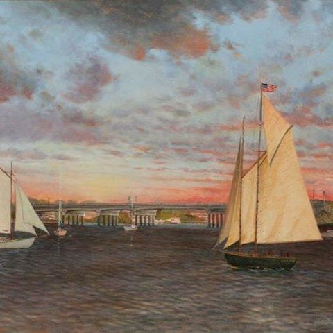 """""""Twilight at the Lance Corporal Haerter Veterans Memorial Bridge"""" (Sag Harbor, NY). Available for purchase on website--link in profile!"""