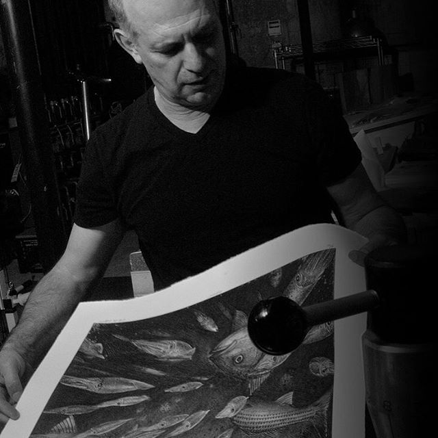 """Pulling the etching """"Ambushed"""" off the printing press in the Vito DeVito art studio. Available for purchase on website--link in profile!"""