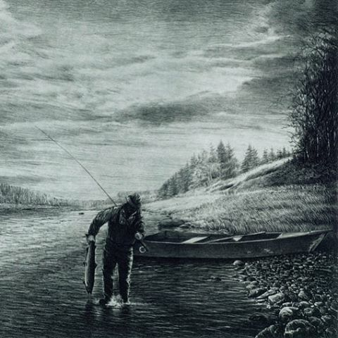 """Ted Williams on the Miramichi."" This etching is set in New Brunswick, Canada. check it out--also available for purchase through the link in profile. #canada #newbrunswick #newbrunswickcanada #miramichi #fish #fishing #fishermen #fisherman #river #outdoors #nature #art #etching #artist"