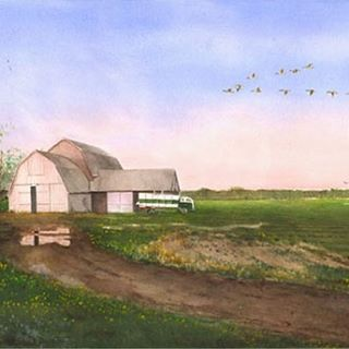 """""""Old Peppin Farm,"""" in East Hampton, NY. Another beautiful Hamptons scene. Available for purchase through the link in profile. #hamptons #thehamptons #easthampton #longisland #farm #oldfarm #outdoors #art #artist #painting #painter"""