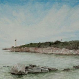 "A portion of ""Portland Lighthouse"" (in Portland, ME). The original painting shows the length of the pension peninsula that extends into the bay. Available for purchase through the link in profile. #portland #lighthouse #maine #me #ocean #bay #water #nature #outdoors #painting #artist #art"