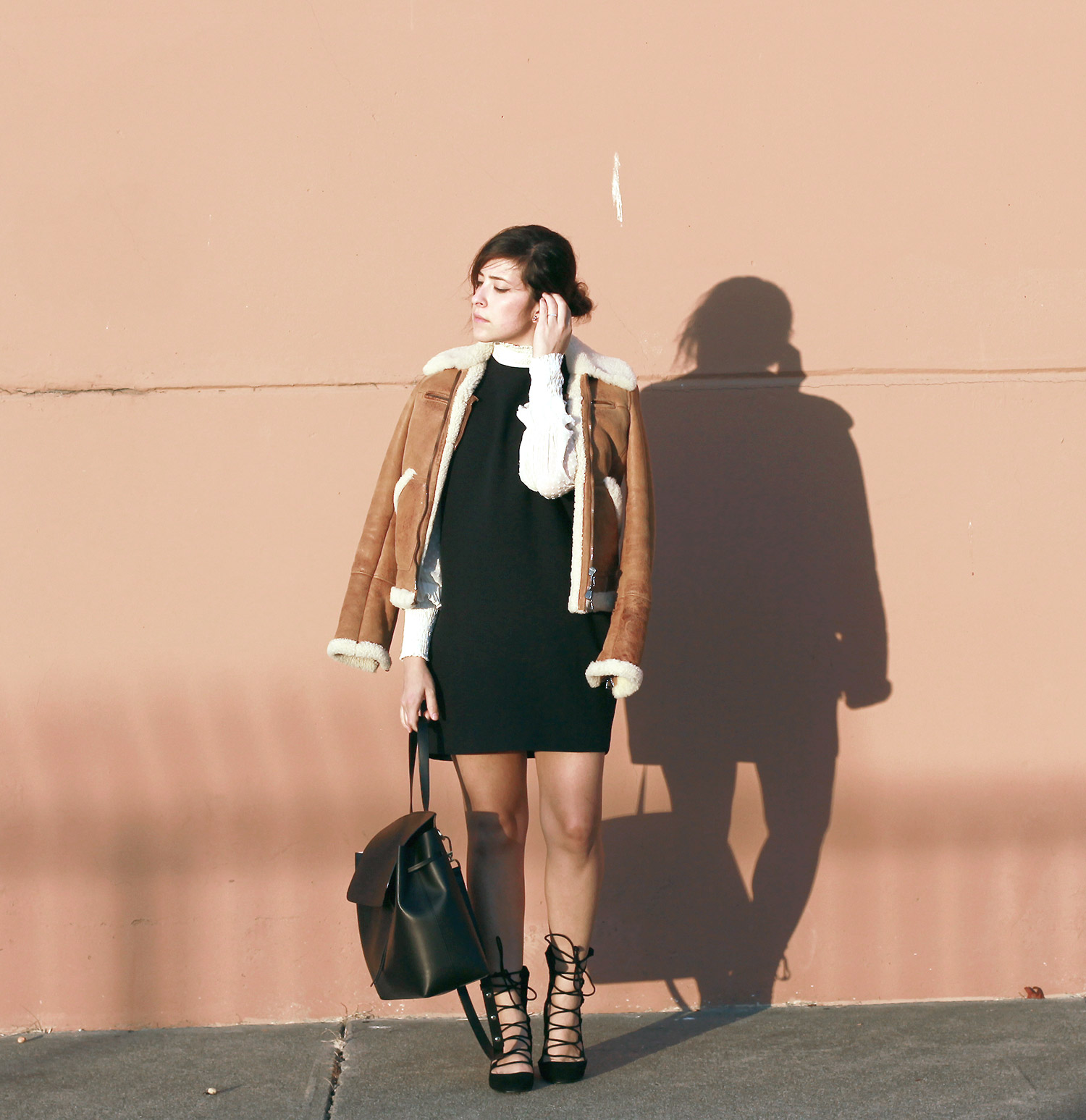 modern retro outfit, shearling jacket