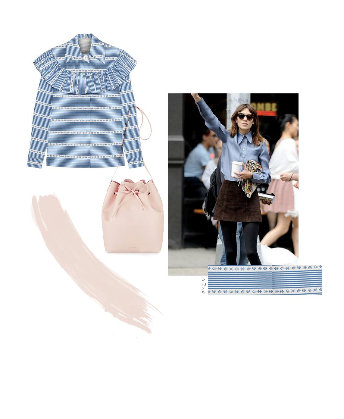 twelve:ofour | miu miu top, mansur gavriel baby pink bucket bag, alexa chung street style