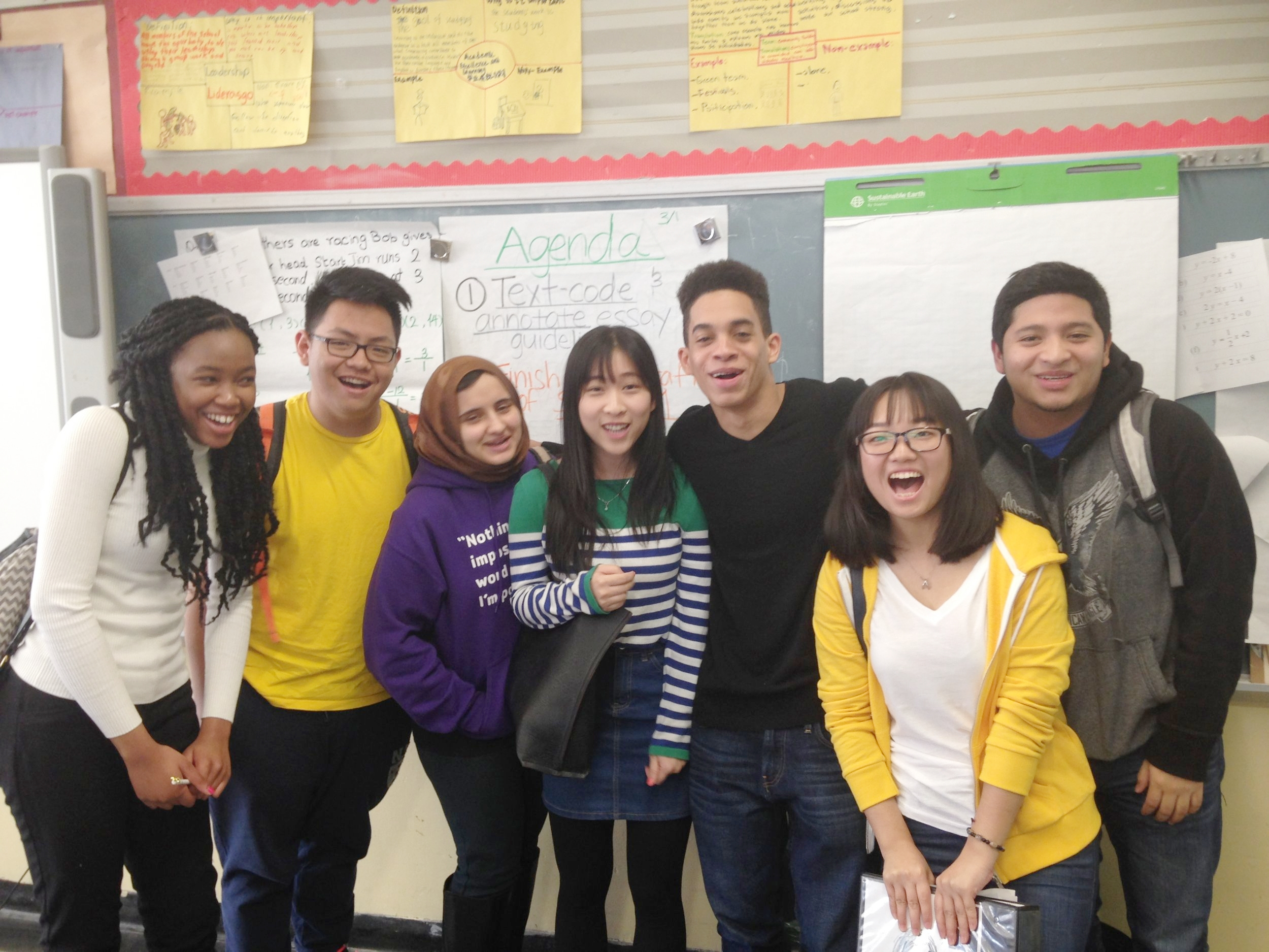 Students at Flushing International High School after presenting on a panel about mastery-based grading at their school