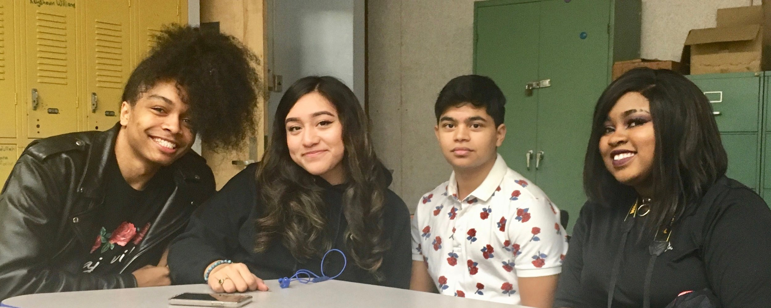 Four college freshmen who are alums from UA Maker's first graduating class of 2018 shared about their experience of college so far. From left: Richard attends NYC College of Technology; Jazlyn attends City College; Milam attends Dennison College; Ash attends Allegheny College.
