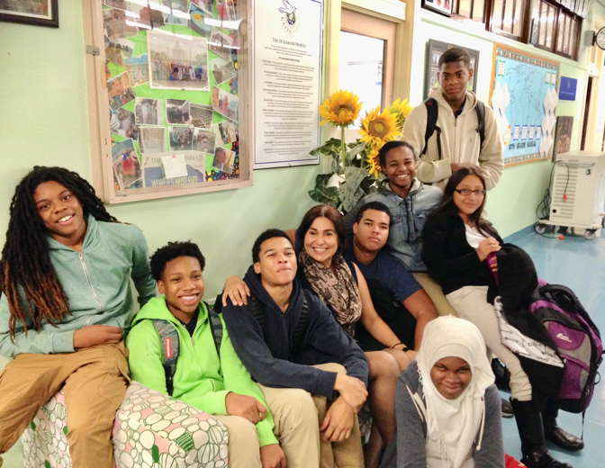 Students at MC member school KAPPA International High School, Bronx, NY, with Principal Panorea (Penny) Panagiosoulis.