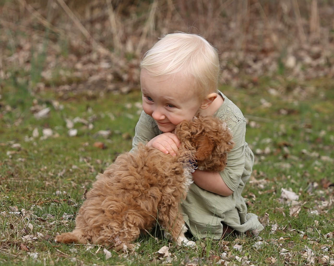 Adorable little girl hugging puppy