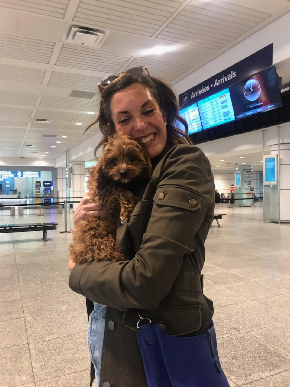 Puppy in airport with delighted new owner