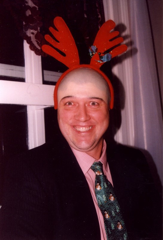 Dr. chuck gets in the spirit at one of our hilarious team holiday dinners.