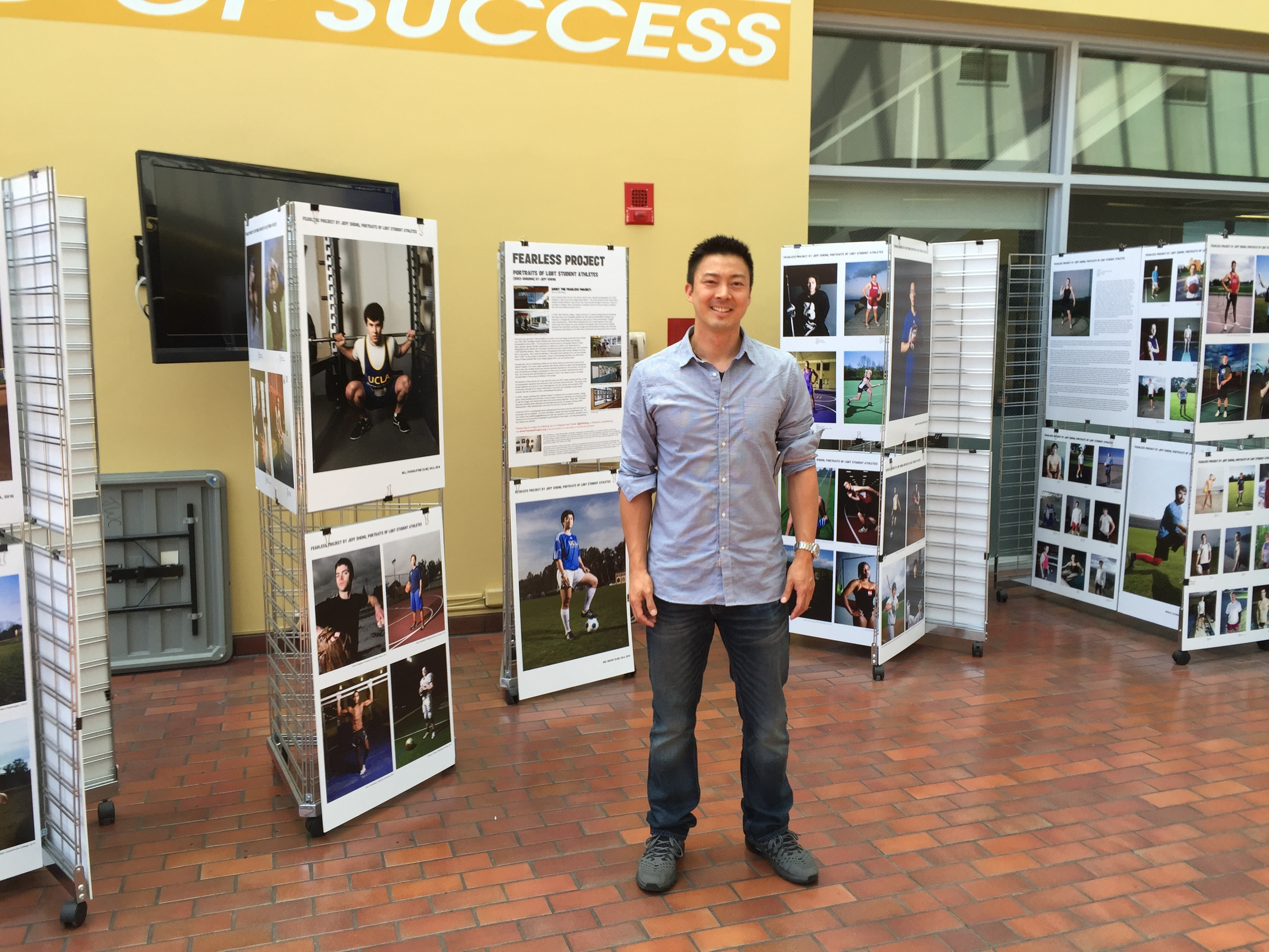 Jeff Sheng at Fearless Project exhibition in the Wooden Center at UCLA, 2015.