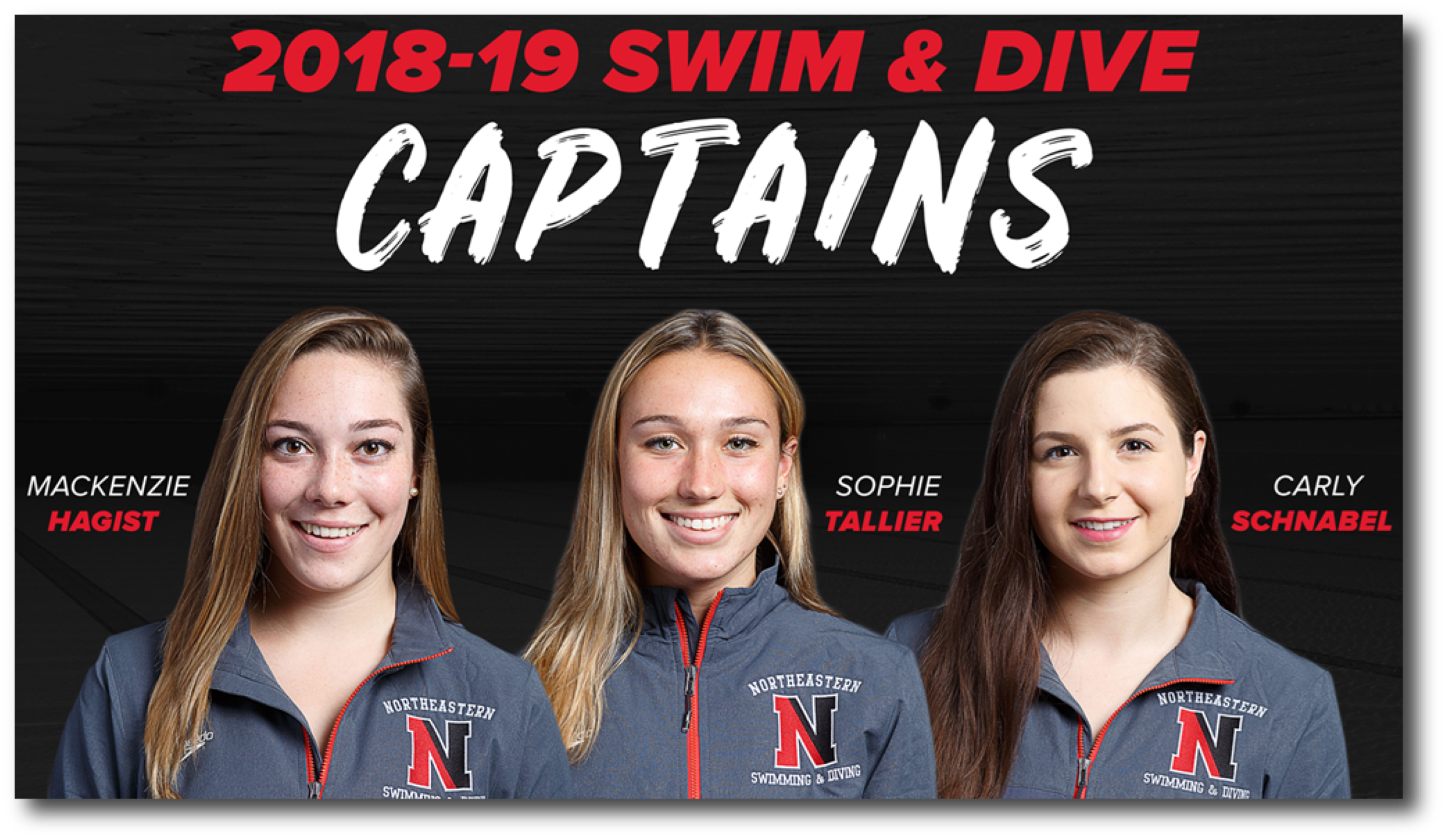 MacKenzie Hagist, LEFT, Captain Northeastern University Diving and Swimming Team