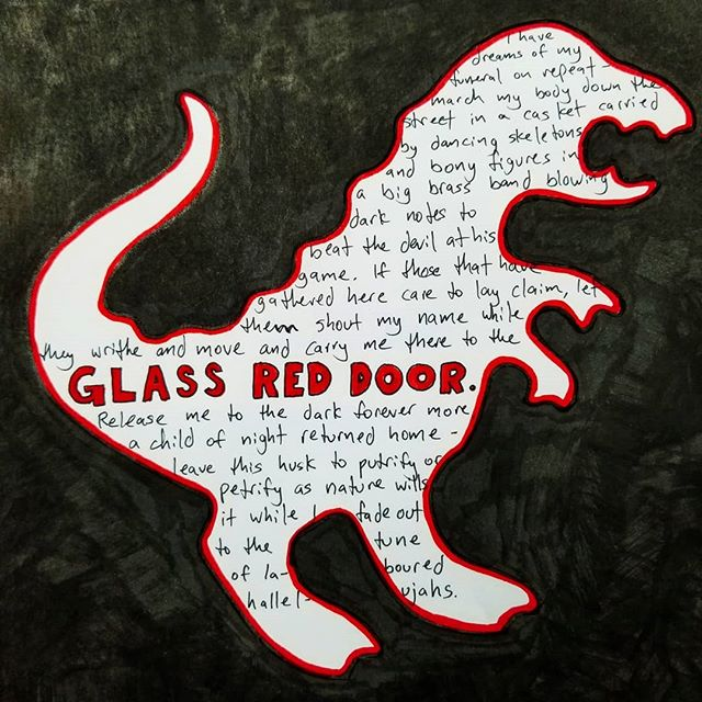 Some days you just gotta write down your thoughts in a dinosaur and paint the rest black. . . #Glass #Red #Door #Lyrics #Inspiration #StreamOfConsciousness #InMediasRes #Funeral #Dream #Vision #Poetry #Skeleton #Brass #Band #Zydeco #NewOrleans #Dissonance #WeGatherHereTogether #SayMyName #CarryMe #ChildOfNight #Hallelujah #Dinosaur #PaintItBlack #InstaPoetry #Doodle #DoodlesOfInstagram #LigneClarity #TheDapperConspiracy #WhatDreamsMayCome