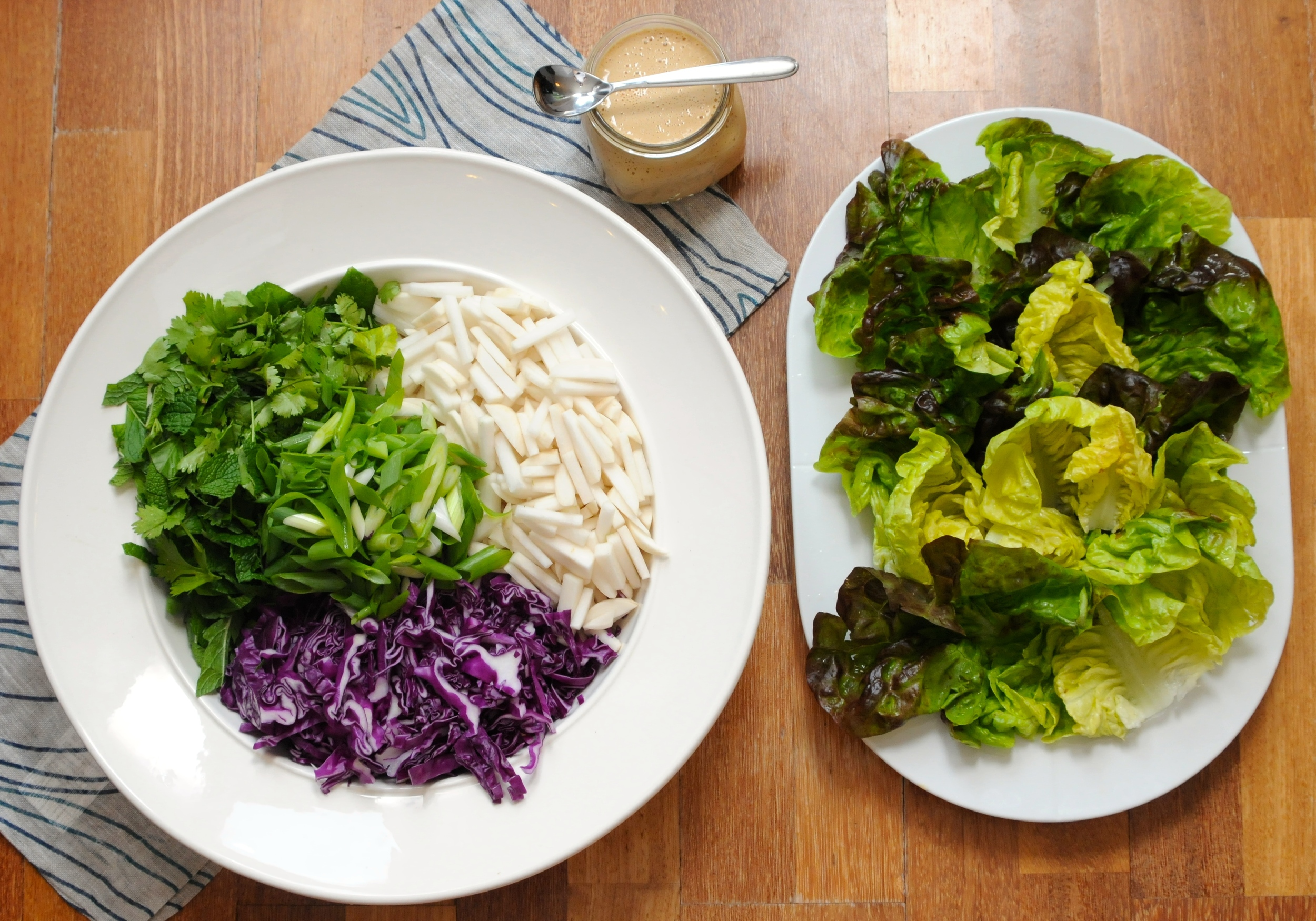 Turnip and Herb Salad Lettuce Wraps with Peanut Coconut Satay Drizzle Sauce
