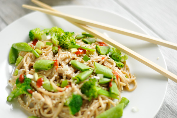 Quick sesame noodles with spring veggies. A quick weeknight meal your family will love. #vegan #glutenfree #healthy-2