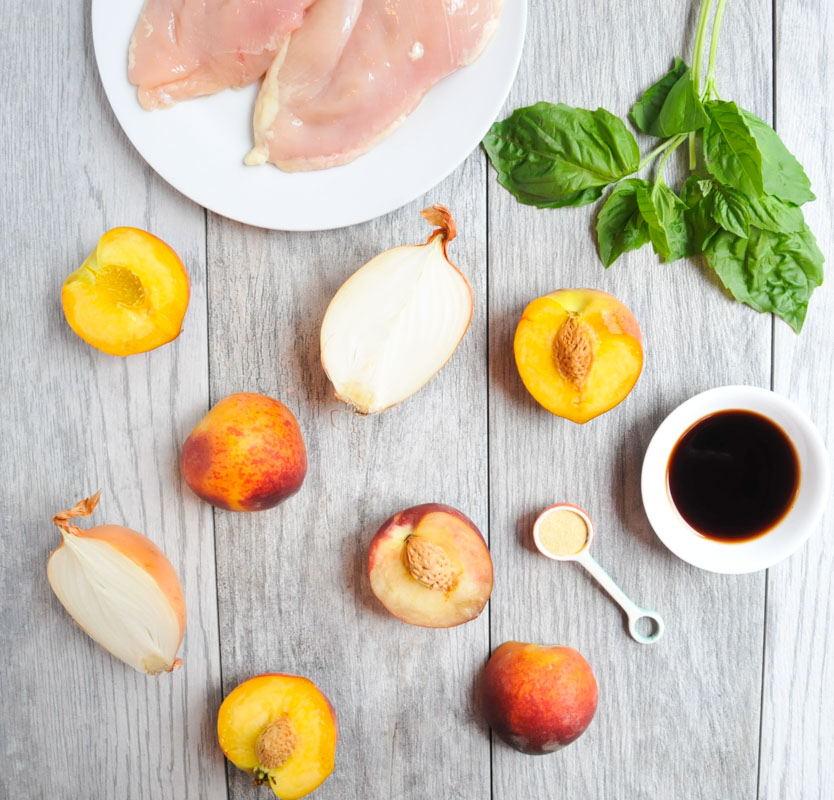 Slow Cooker Peach Chicken with Basil. An easy, healthy recipe that's naturally gluten-free and dairy-free.