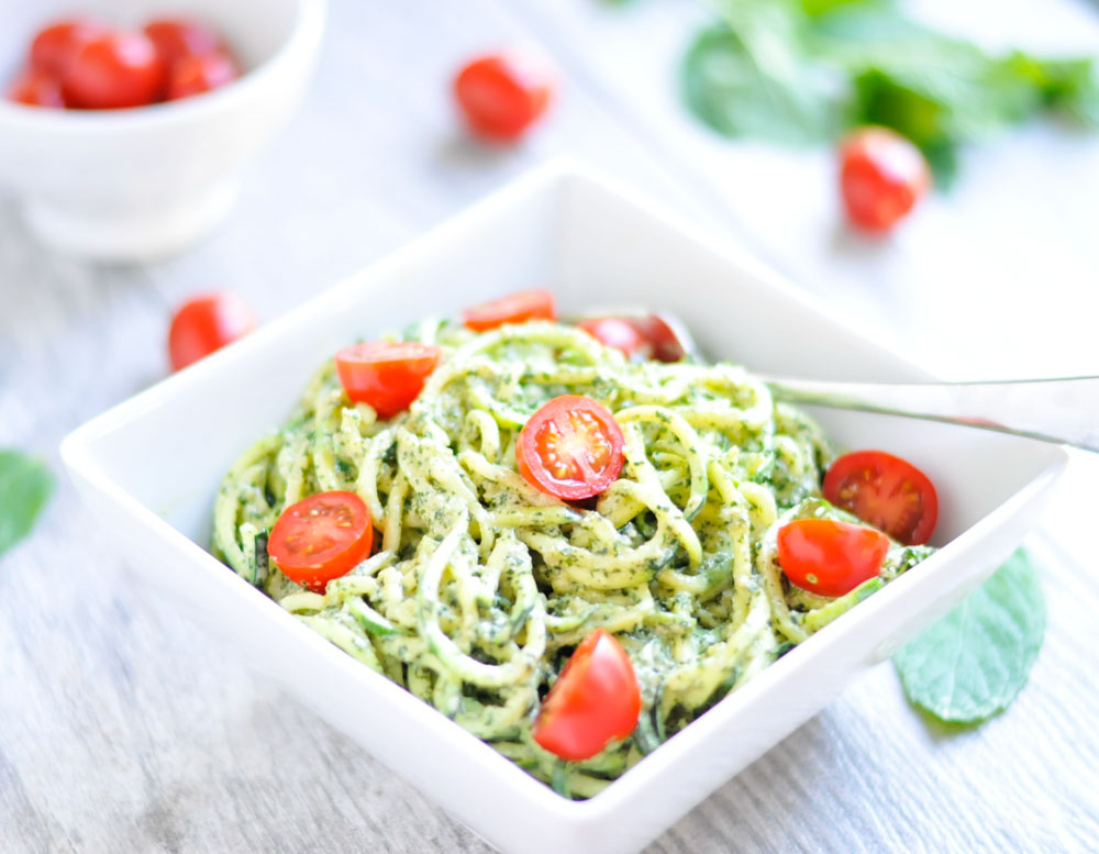 Simple Pesto with Zoodles or Noodles (Nut-Free and Dairy-Free)