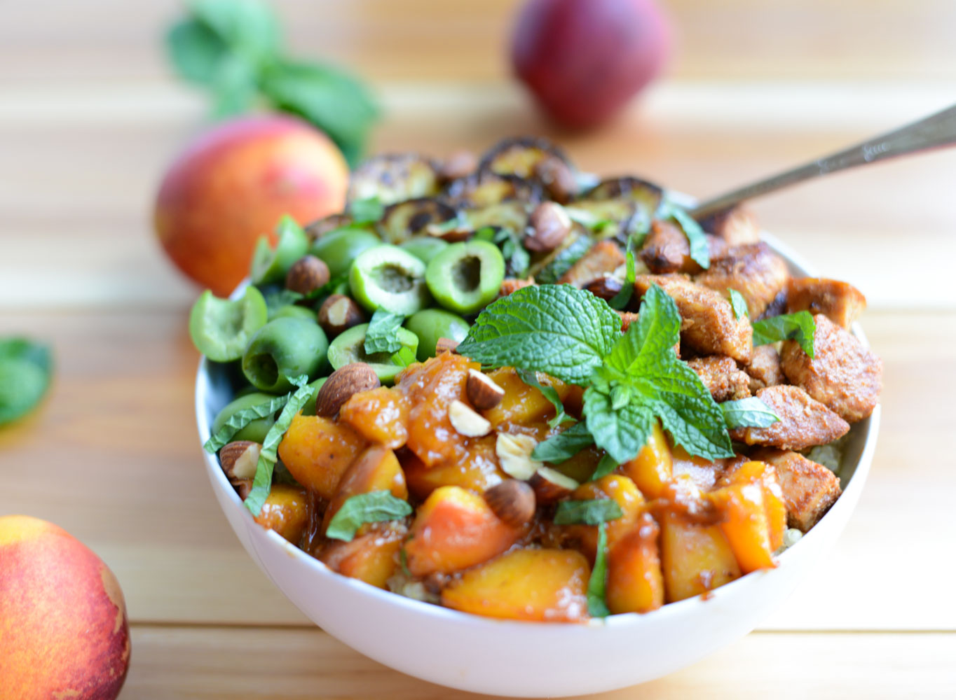 Moroccan Chicken Bowls with Nectarine Sauce. A flavorful, healthy dinner recipe. Paleo, dairy-free, and gluten-free.