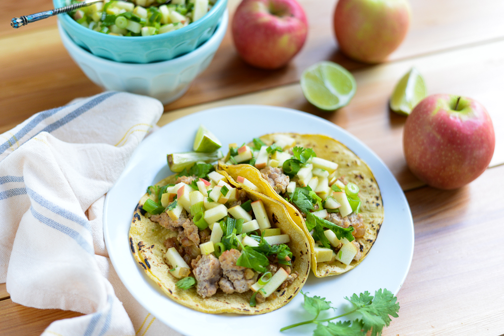 Ground Turkey Tacos with Apple Salsa. A quick, easy, healthy weeknight recipe that's naturally gluten-free and dairy-free.
