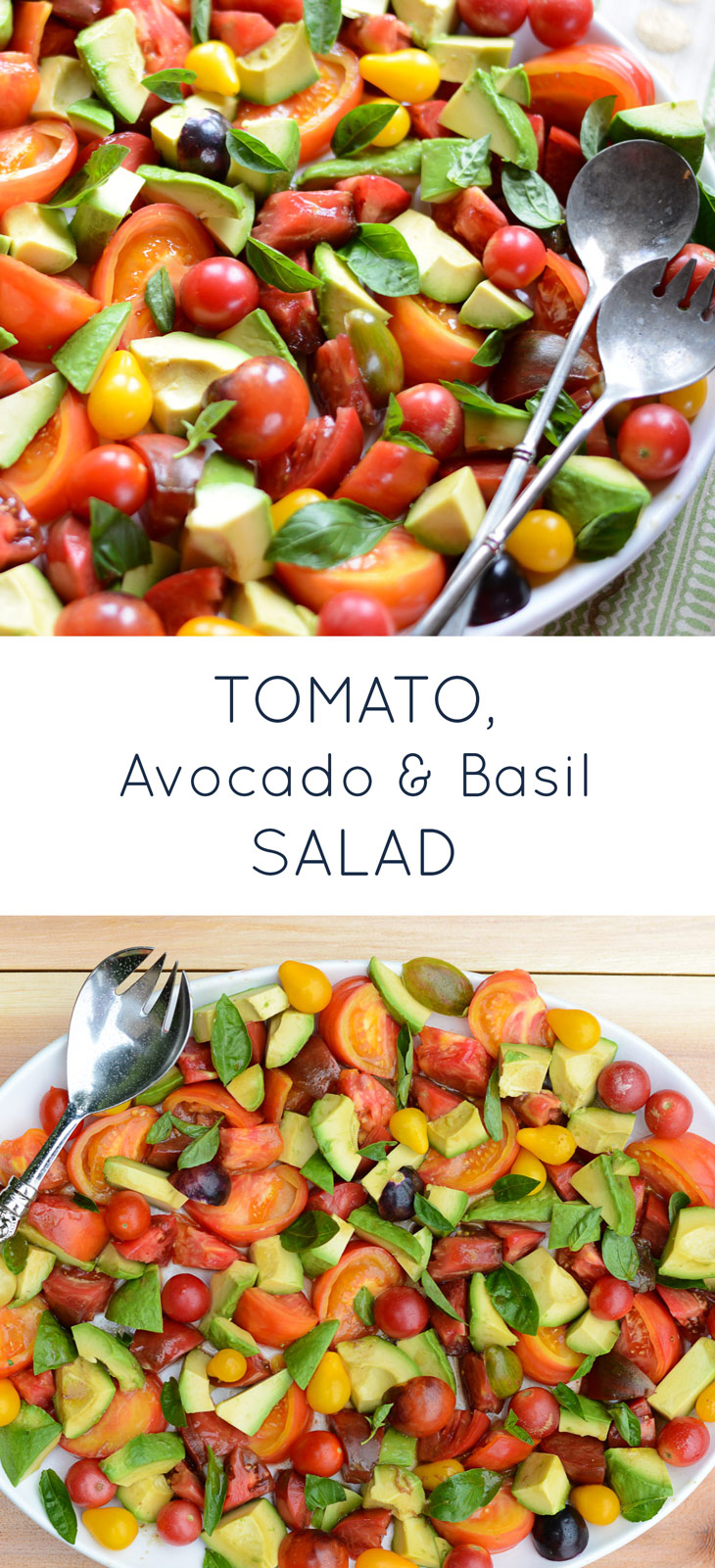 Tomato, Avocado & Basil Salad is a simple, flavorful healthy summer recipe. Gluten-free, dairy-free and paleo-friendly!