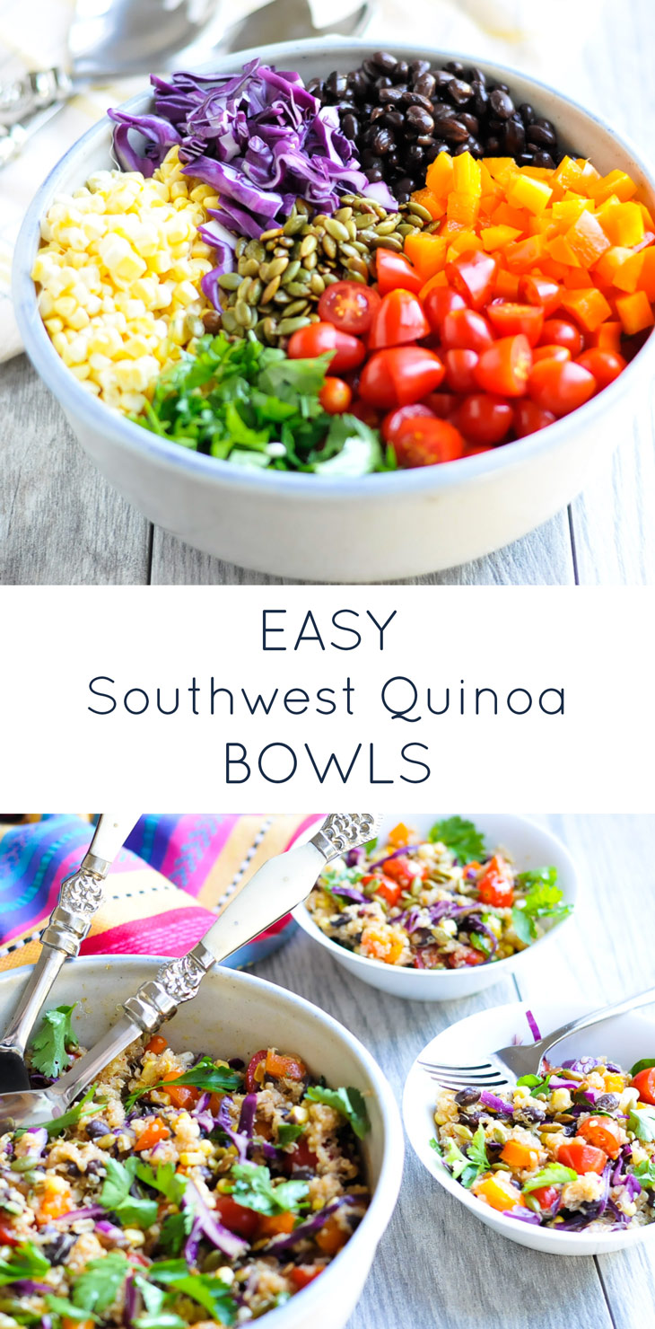 Easy Southwest Quinoa Bowls, an easy healthy lunch or dinner recipe that is naturally gluten-free and dairy-free.