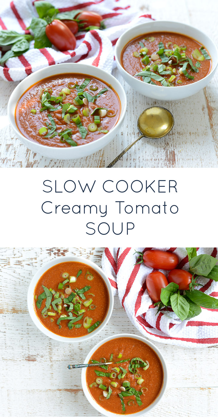 Crockpot Creamy Tomato Soup is super simple to make, and is creamy, dreamy, sweet and savory. Your new favorite paleo, whole30, diary-free recipe!   #realfoodwholelife #realfoodwholeliferecipe #whole30recipe #crockpot #glutenfree #dairyfree #crockpotrecipe #simple #easy #healthy #cleaneating #paleo #septemberwhole30 #whole30 #slowcooker #slowcookerrecipe
