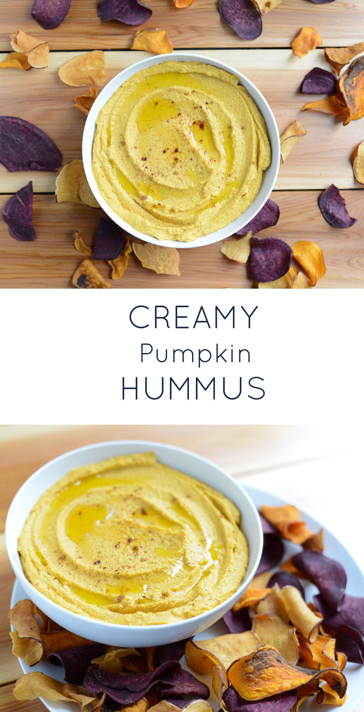 Creamy Pumpkin Hummus takes just a few minutes to prepare and makes an amazing dip, appetizer, or sandwich spread. Perfect for a fall party or as a snack anytime. #realfoodwholelife #realfoodwholeliferecipe #glutenfree #dairyfree #healthy #clean-eating #fall #fallrecipe #pumpkin #pumpkinrecipe #halloween #halloweenparty #healthyhalloween #thanskgiving #healthythanksgiving