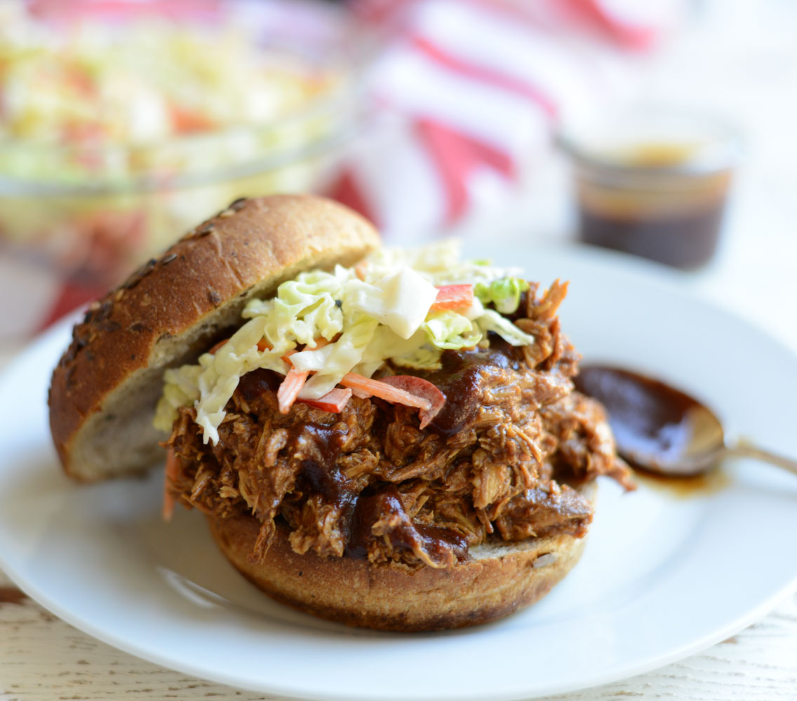 Slow Cooker Pulled Barbecue Chicken  a simple, healthy, freezable slow cooker recipe.