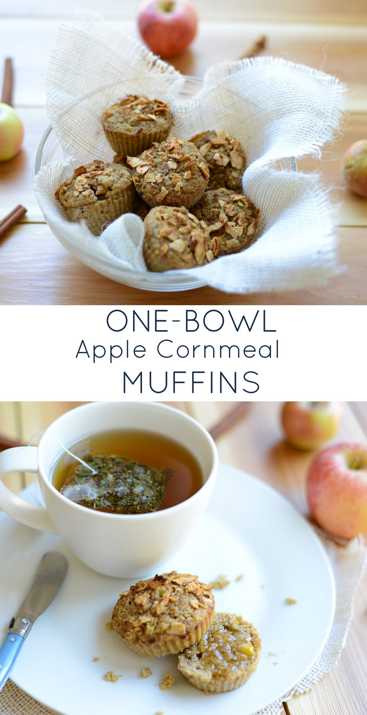1-Bowl Apple Cornmeal Muffins. A simple, tasty breakfast treat or afternoon snack and a naturally gluten-free and dairy-free recipe.