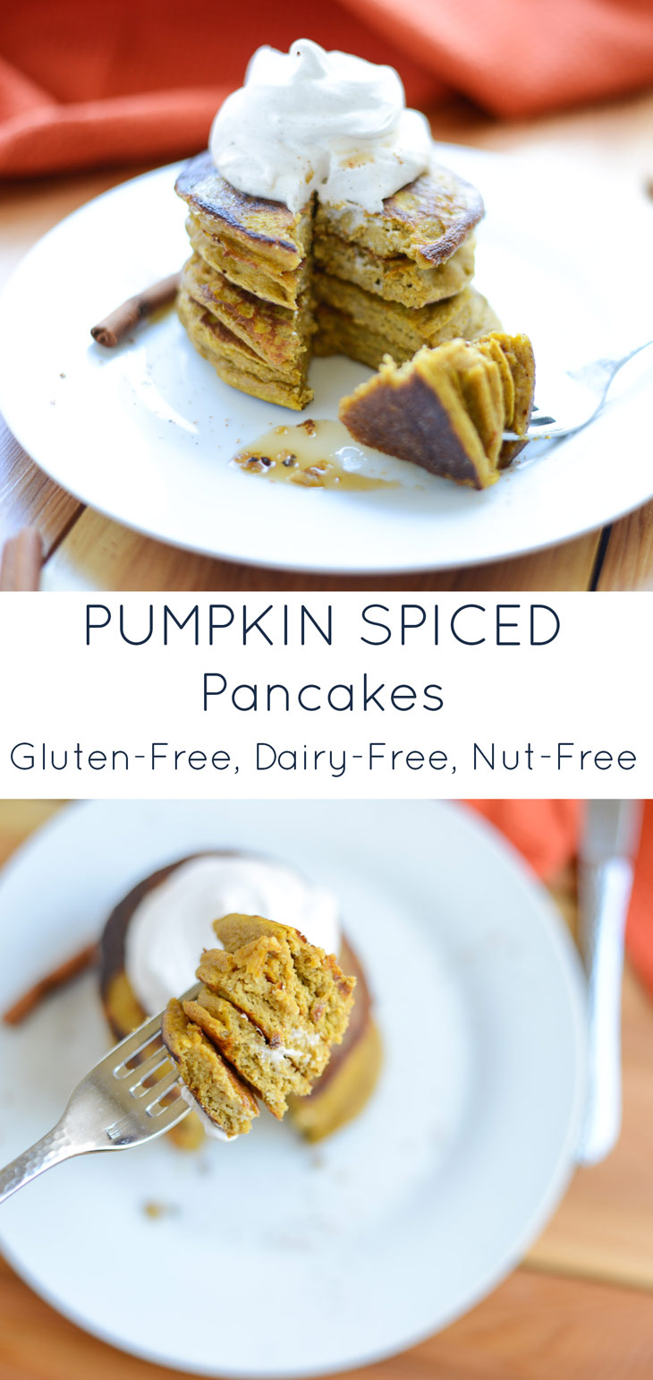 Pumpkin Spice Pancakes! They're easy to make in just one-bowl and are naturally gluten-free, dairy-free, and nut-free so just about anyone can enjoy them. Grab a bowl, a can of pumpkin, and whip up this delicious pancake recipe today. #realfoodwholelife #realfoodwholeliferecipe #glutenfree #dairyfree #healthy #clean-eating #fall #fallrecipe #pumpkin #pumpkinrecipe #halloween #halloweenparty #healthyhalloween #thanskgiving #healthythanksgiving #pumpkinspice