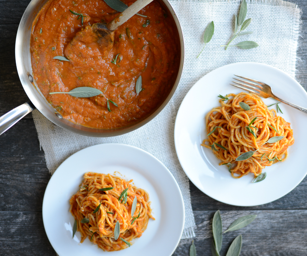 Tuscan Pumpkin Pasta Sauce is an easy copy cat recipe of the store-bought version, and easy to make with pantry ingredients. It feels indulgent, yet is packed with veggies and is naturally creamy without a trace of dairy. Perfect for a cool autumn evening or any night of the week. #realfoodwholelife #realfoodwholeliferecipe #glutenfree #dairyfree #healthy #cleaneating #fall #fallrecipe #pumpkin #pumpkinrecipe #halloween #halloweenparty #healthyhalloween