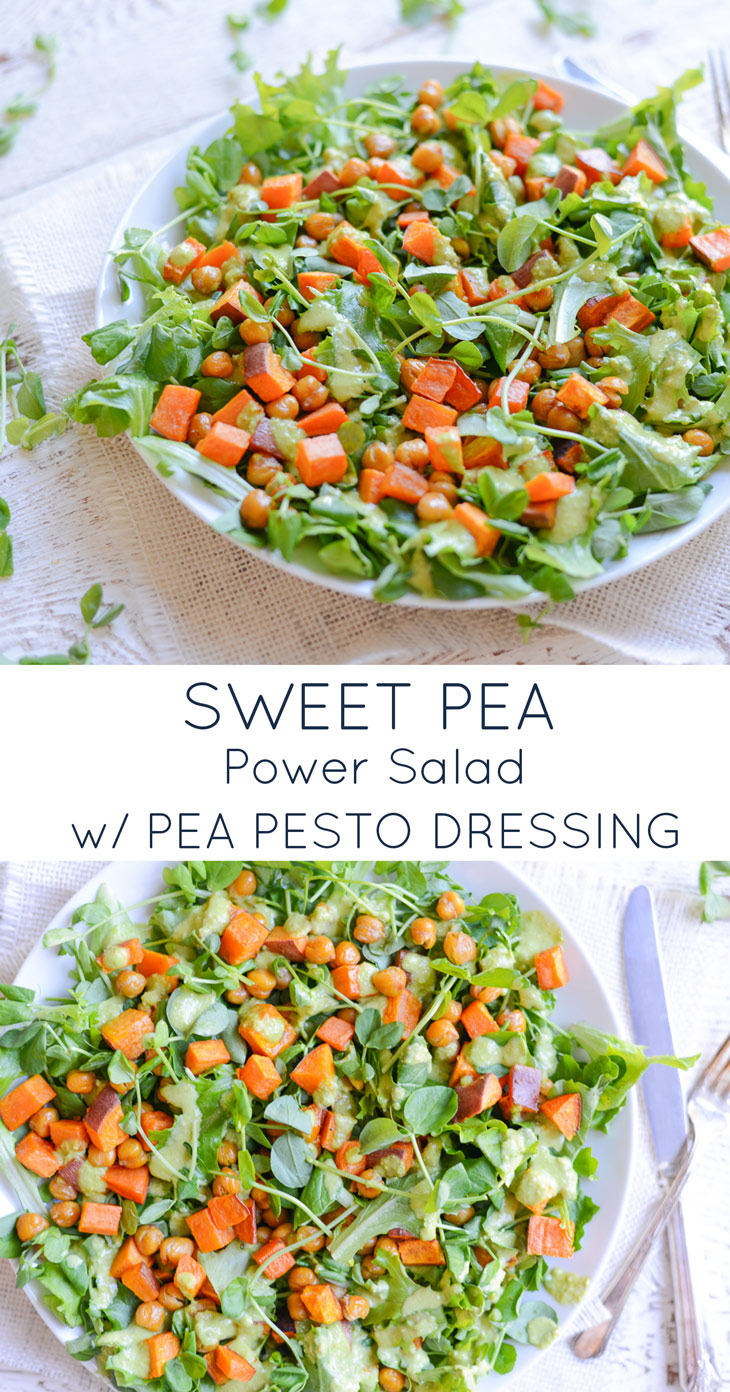 Sweet Pea Power Salad with Pea Pesto Dressing is full of fresh, bright flavors and is packed with plant-based protein. Topped with a simple pesto dressing, this salad is perfect as a meal or as a colorful side.