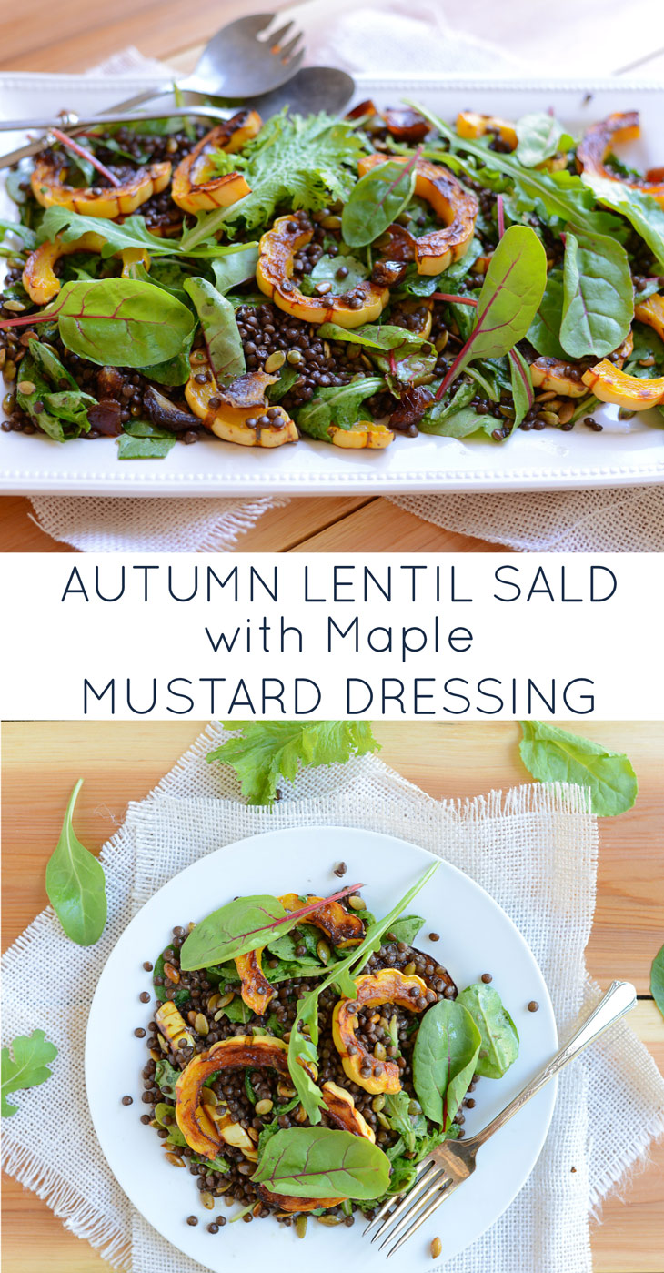 Autumn Lentil Salad with Maple Mustard Dressing is a hearty fall salad. It makes the perfect main dish or side, is made of clean, real food ingredients, and is naturally gluten-free and dairy-free.