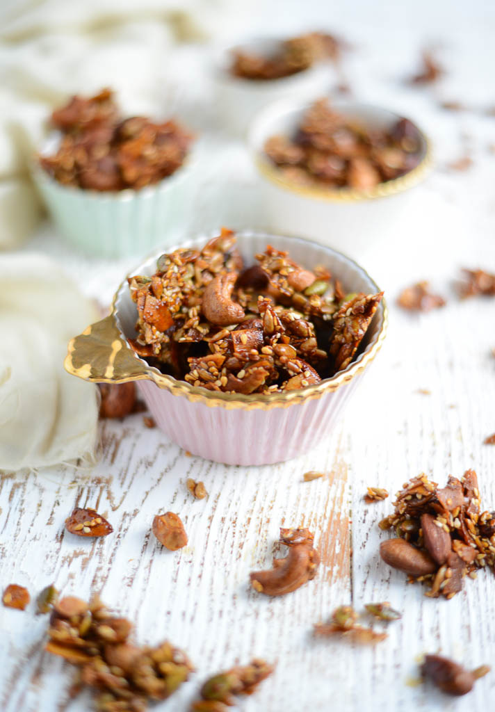 Easy Sweet & Spicy Nuts and Seeds is the perfect make-ahead recipe, yielding irresistible results every time. Naturally gluten-free, dairy-free, and refined sugar-free.