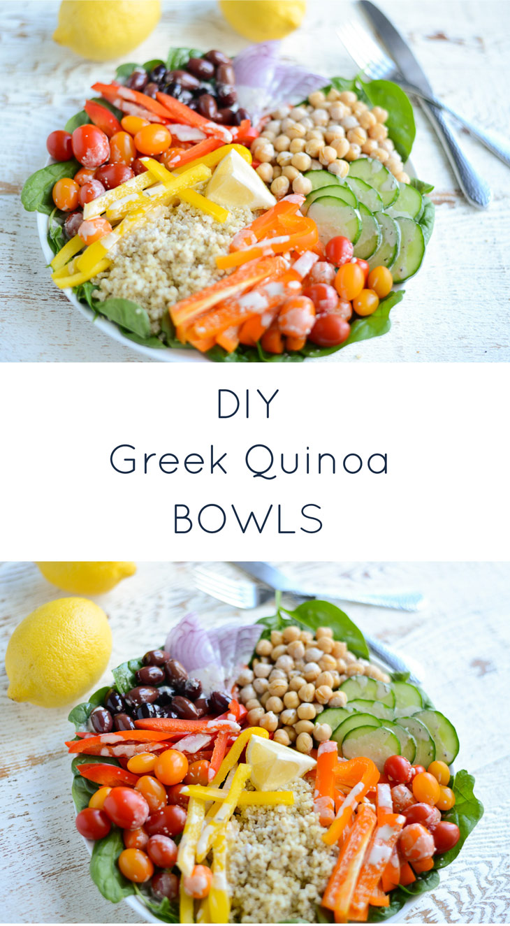 Super simple to assemble and flavor-packed, DIY Greek Quinoa Bowls are perfect for dinner or lunch anytime. Naturally gluten-free and dairy-free.