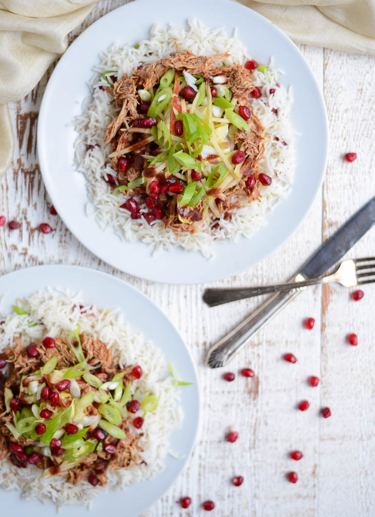 Slow Cooker Pomegranate BBQ Chicken with Crunchy Apple Slaw. A quick, easy, healthy, recipe using real food ingredients. Naturally gluten-free and dairy-free.