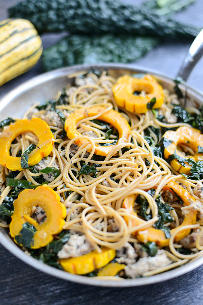 Hearty Winter Pasta with Chicken Sausage & Kale is the kind of warm, nourishing meal you want to dig into on a cold winter's night.