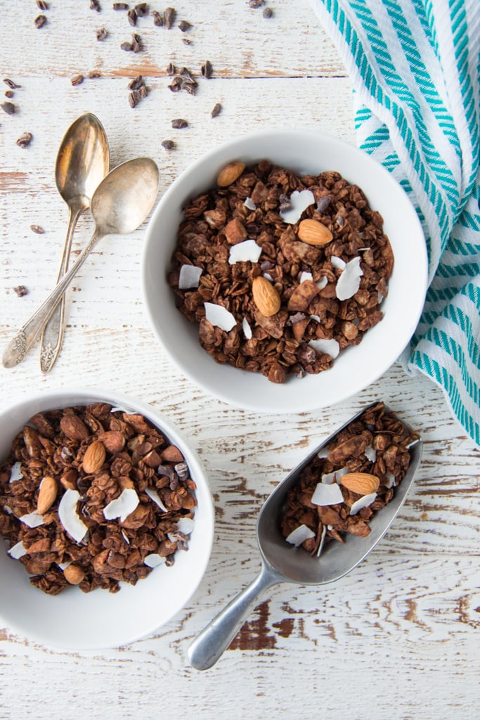 Crunchy, chocolatey and made without refined sugar, gluten, or dairy, Double Chocolate Almond Joy Granola is perfect for breakfast, as a snack, or as a special treat!