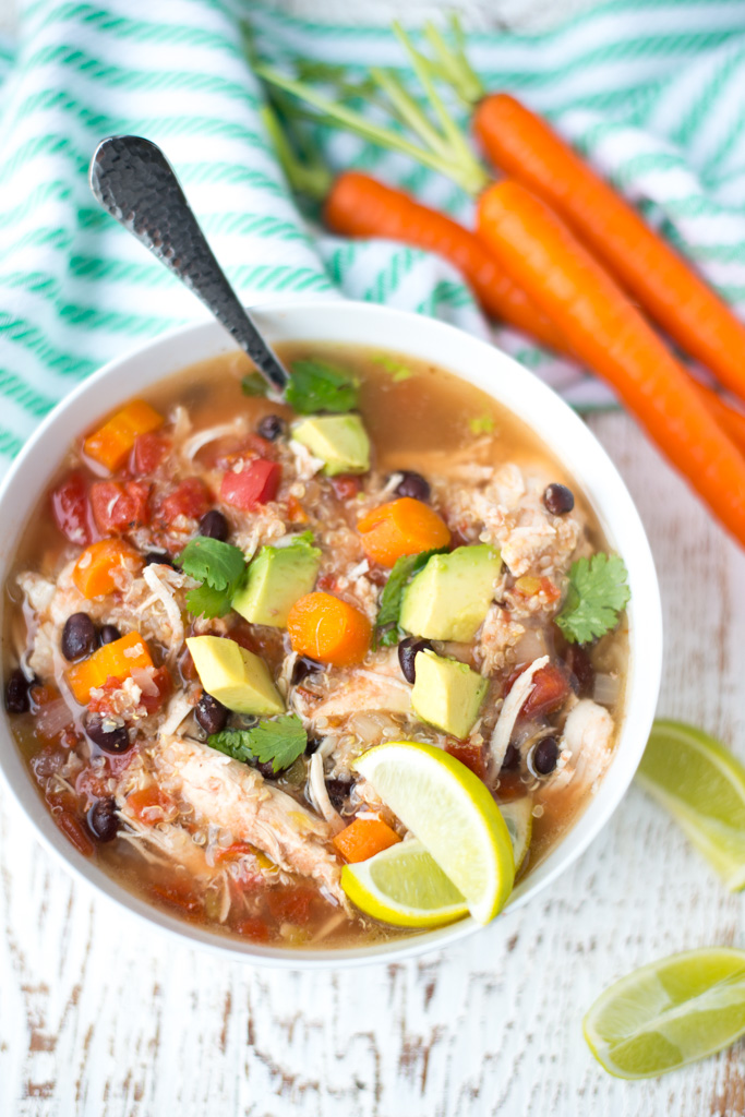 Super easy to prepare, Slow Cooker Chicken, Black Bean and Quinoa Stew is full of hearty, nourishing ingredients and will be a hit with the entire family. The perfect healthy dinner recipe in a hurry! #realfoodwholelife #recipe #healthy #dinner #slowcooker #crockpot #easydinner #healthymeals #chicken #glutenfree #dairyfree #refinedsugarfree