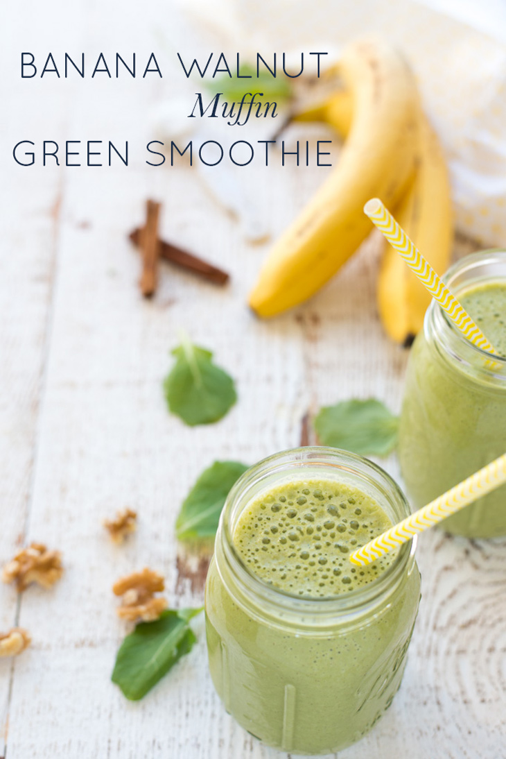 This quick, easy, healthy Banana Walnut Muffin Green Smoothie recipe has all the taste of a muffin, plus the added goodness of greens!