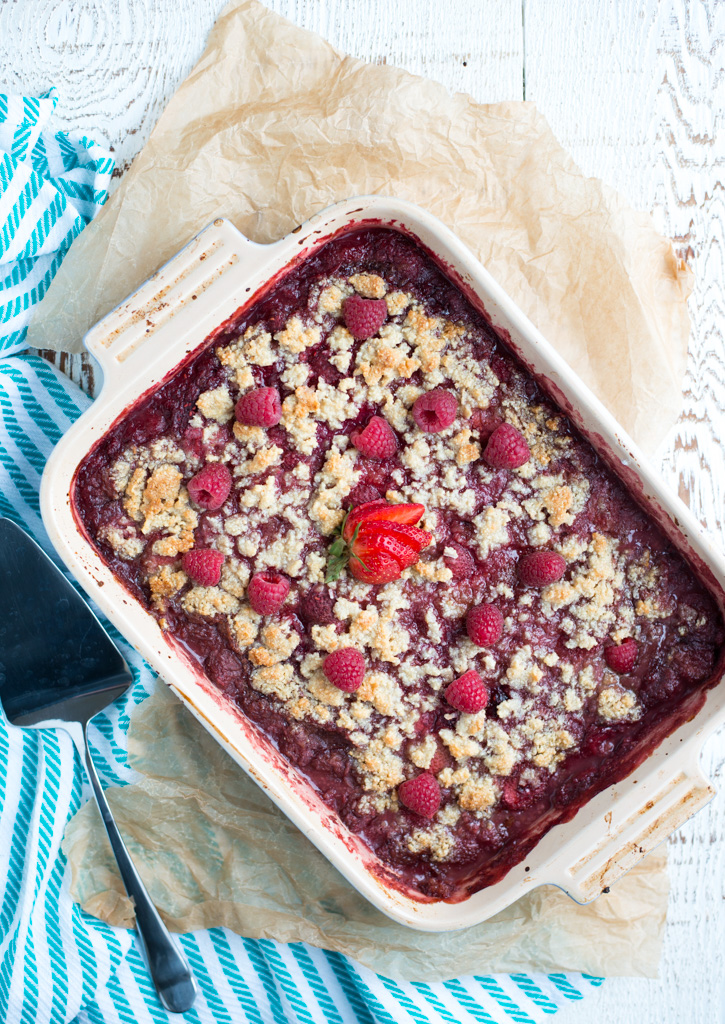 Bursting with fresh berries and topped with a naturally sweetened crispy topping, Strawberry Raspberry Almond Crisp is a homey, satisfying dessert that's simple to prepare.