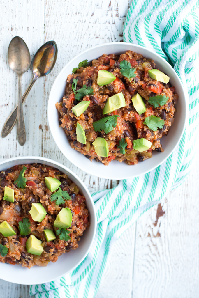 A simple drop, stir, cover, and go recipe; Slow Cooker Enchilada Quinoa (Dairy-Free, Gluten-Free) is so easy to prepare, tastes amazing, and packs well for lunch the next day.