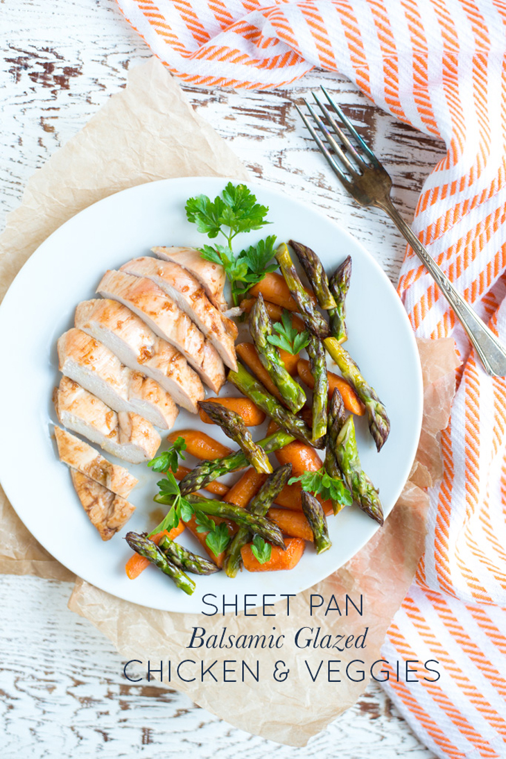 Sheet Pan Balsamic Glazed Chicken and Veggies is a meal in just one pan. Juicy chicken, tender veggies, and a tangy sweet glaze make this recipe easy, quick, and so delicious!