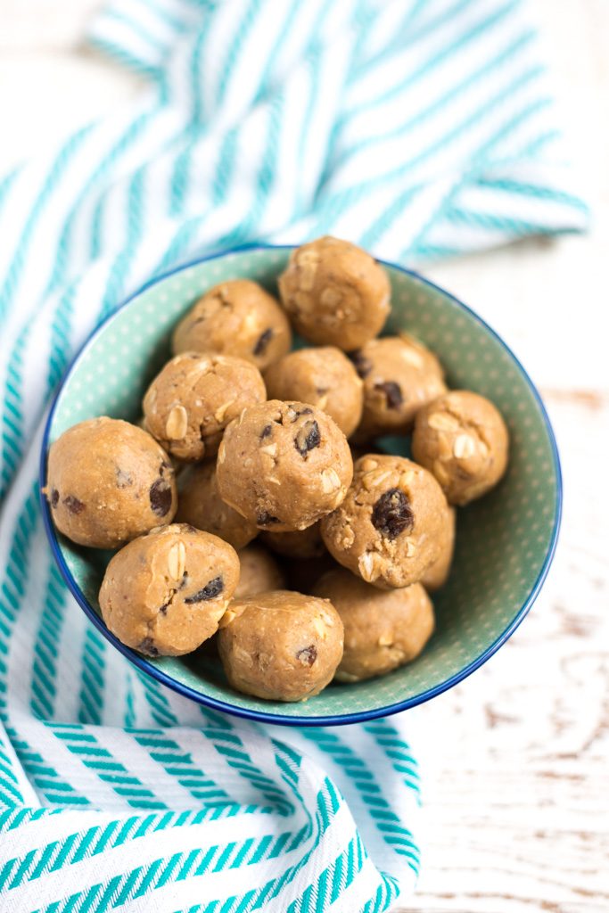One-Bowl Monster Cookie Dough Bites are easy to make and the perfect sweet treat. They're made with real food ingredients, and are egg-free, but they taste just like cookie dough!