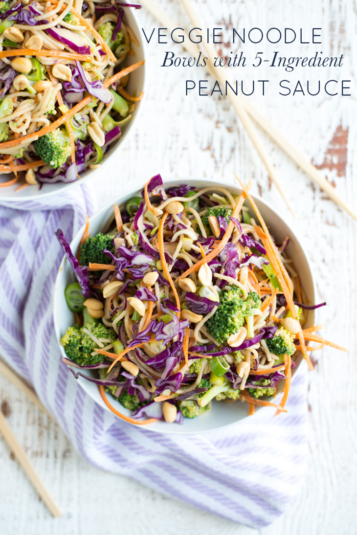 Slurpable noodles and heaps of tender veggies combine with an ultra-simple sauce in Veggie Noodle Bowls with 5-Ingredient Peanut Sauce. No complicated ingredient list here, these bowls are easy to make and taste amazing.