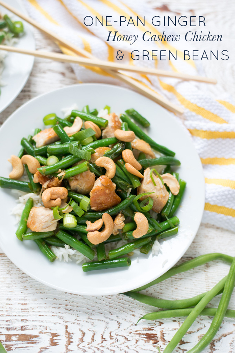 Crispy chicken, tender green beans, and a gingery sauce make One-Pan Ginger Honey Cashew Chicken and Green Beans a simple, tasty weeknight recipe you'll want to make again and again.