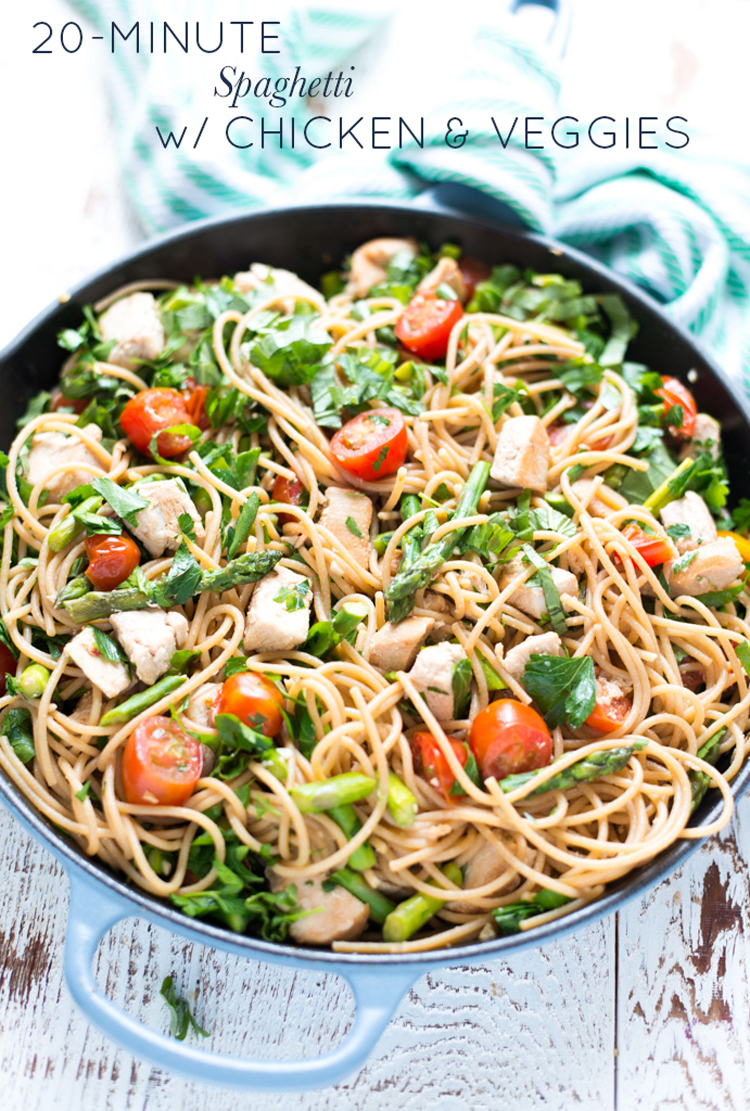 A quick, simple dinner recipe, 20-Minute Spaghetti with Chicken and Veggies comes together in minutes and is full of bright and satisfying flavors.