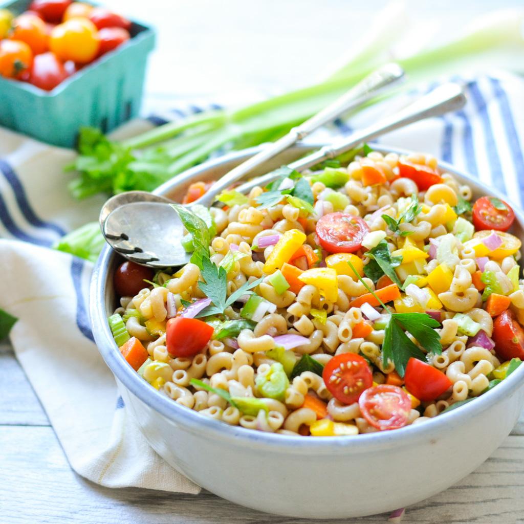 Garden Pasta Salad with Homemade Italian Dressing #dairyfree #healthy #vegan #easy