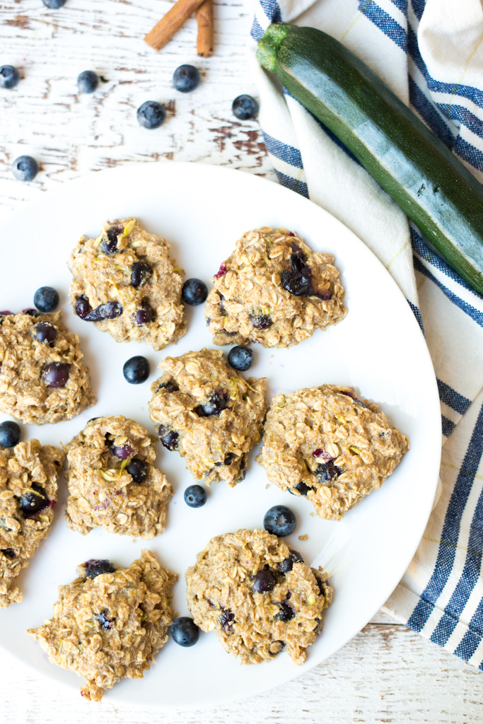 Cookies for breakfast? I think so! Packed with fruits, veggies, and oats, One-Bowl Blueberry Zucchini Muffin Breakfast Cookies are a wholesome breakfast or snack at home or on the go.